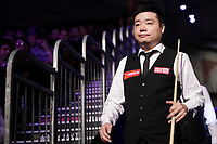 12th January 2020, Alexandra palace, London, United Kingdom; Ding Junhui of China returns from the break during the round 1 match between Ding Junhui of China and Joe Perry of England at Snooker Masters 2020 at the Alexandra Palace . Perry won 6 frames to 3.