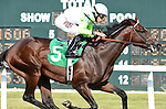 Edge of Reality (no. 5), ridden by Irad Ortiz Jr. and trained by H. Graham Motion, wins the Alphabet Soup Handicap for three year olds and upward on September 20, 2014 at Parx Racing in Bensalem, Pennsylvania.  (Bob Mayberger/Eclipse Sportswire)