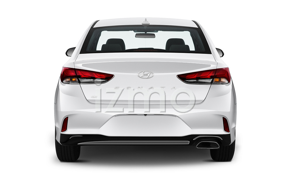 Straight rear view of 2019 Hyundai Sonata SE 4 Door Sedan Rear View  stock images