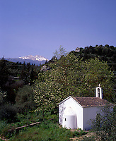 Greece Western Crete A Chapel in the foothills of The White Mountains Lefka Ori