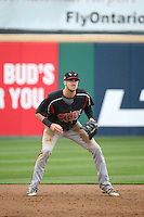 Chase Jensen (20) of the Lake Elsinore Storm in the field during a game against the Rancho Cucamonga Quakes at LoanMart Field on April 10, 2016 in Rancho Cucamonga, California. Lake Elsinore defeated Rancho Cucamonga, 7-6. (Larry Goren/Four Seam Images)