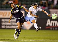 Red Stars forward Cristiane takes a shot on goal past LA Sol's Shannon Boxx. The LA Sol and the Red Stars of Chicago played to a 1-1 draw    at Home Depot Center stadium in Carson, California on Wednesday evening June 3, 2009.   .