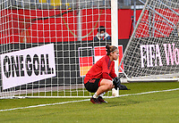Belgian goalkeeper Justien Odeurs (1) pictured ahead of a friendly female soccer game between the national teams of Germany and  Belgium , called the Red Flames  in a pre - bid tournament called Three Nations One Goal with the national teams from Belgium , The Netherlands and Germany towards a bid for the hosting of the 2027 FIFA Women's World Cup , on Sunday 21 st of February 2021  in Aachen , Germany . PHOTO SPORTPIX.BE   SPP   STIJN AUDOOREN