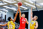 Tsai Choi Kwan #27 of SCAA Men's Basketball Team goes to the basket against the Winling during the Hong Kong Basketball League game between SCAA vs Winling at Southorn Stadium on June 19, 2018 in Hong Kong. Photo by Yu Chun Christopher Wong / Power Sport Images