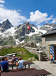 Switzerland, Canton Uri, at Sustenpass Road - border between cantone Bern + Uri: Sustli mountain hut, Fuenffingerstock mountains with peaks Wendenhorn und Wasenhorn