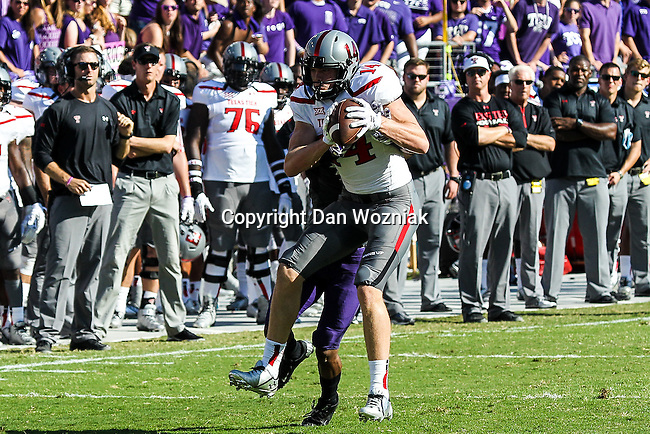 Texas Tech Red Raiders wide receiver Dylan Cantrell (14) in action during the game between the Texas Tech Red Raiders and the TCU Horned Frogs at the Amon G. Carter Stadium in Fort Worth, Texas. TCU defeats Texas Tech 82 to 27.