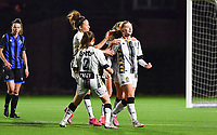 midfielder Ludmila Matavkova of Sporting Charleroi pictured celebrating with her teammates after scoring a goal during a female soccer game between Sporting Charleroi and Club Brugge YLA on the fourth matchday of the 2020 - 2021 season of Belgian Scooore Womens Super League , friday 9 nd of October 2020  in Marcinelle , Belgium . PHOTO SPORTPIX.BE | SPP | DAVID CATRY