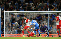 21st September 2021; Etihad Stadium,Manchester, England; EFL Cup Football Manchester City versus Wycombe Wanderers; Riyad Mahrez of Manchester City strikes the post with a curling left footed shot