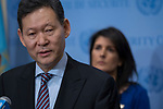 Kairat Umarov, Permanent Representative of Kazakhstan to the UN and President of the Council for the month of January, briefs press on the outcome of the recent Security Council mission to Afghanistan. He was joined by other Security Council members.