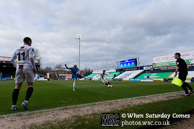 Barnet play the ball out. Stockport County v Barnet, 07032020. Edgeley Park, National League. Photo by Paul Thompson.