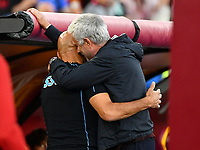 Calcio, Serie A: AS Roma vs SSC Napoli, Olympic stadium, October 24, 2021.<br /> Roma's coach José Mourinho (R) greets Napoli's coach Luciano Spalletti (L) prior to the Italian Serie A football match between Roma and Napoli at Rome's Olympic stadium, on , October 24, 2021. <br /> UPDATE IMAGES PRESS/Isabella Bonotto