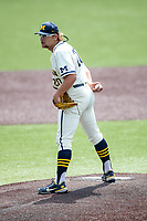Michigan Wolverines pitcher Willie Weiss (20) looks to his catcher for the sign against the Maryland Terrapins on May 23, 2021 in NCAA baseball action at Ray Fisher Stadium in Ann Arbor, Michigan. Maryland beat the Wolverines 7-3. (Andrew Woolley/Four Seam Images)