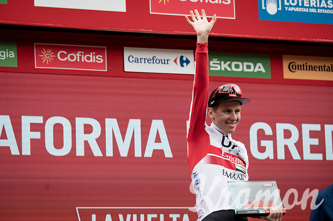 stage winner Tadej Pogačar (SVN/UAE-Emirates) on the podium for a 2nd time in this Giro<br /> <br /> Stage 20: Arenas de San Pedro to Plataforma de Gredos (190km)<br /> La Vuelta 2019<br /> <br /> ©kramon