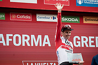 stage winner Tadej Pogačar (SVN/UAE-Emirates) on the podium for a 2nd time in this Giro<br /> <br /> Stage 20: Arenas de San Pedro to Plataforma de Gredos (190km)<br /> La Vuelta 2019<br /> <br /> ©kramon