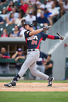 Bobby Dalbec (24) of the US Collegiate National Team follows through on his swing against the Cuban National Team at BB&T BallPark on July 4, 2015 in Charlotte, North Carolina.  The United State Collegiate National Team defeated the Cuban National Team 11-1.  (Brian Westerholt/Four Seam Images)
