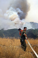 Forestali durante le azioni di spegnimento di un incendio..Forestry activities during the shutdown of a fire......