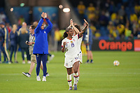 LE HAVRE, FRANCE - JUNE 20: Crystal Dunn #19 during a 2019 FIFA Women's World Cup France group F match between the United States and Sweden at Stade Océane on June 20, 2019 in Le Havre, France.