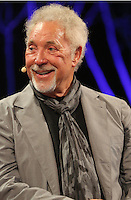 Hay on Wye. Sunday 05 June 2016<br /> Tom Jones speaks about his book 'Over The Top And Back The Autobiography' at the Hay Festival, Hay on Wye, Wales, UK