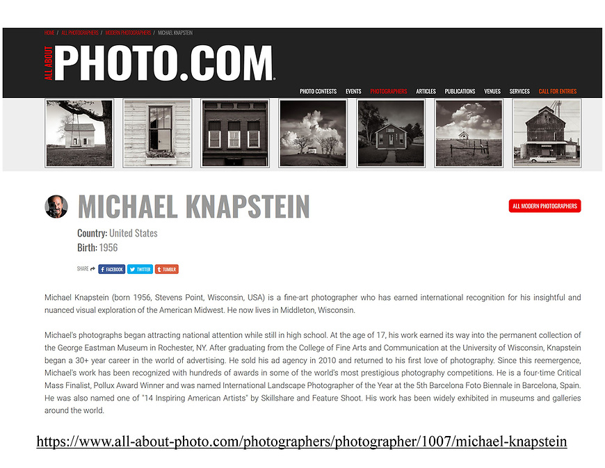 """All About Photo spotlighted 20 photographs from Michael Knapstein's """"Midwest Memoir"""" portfolio."""
