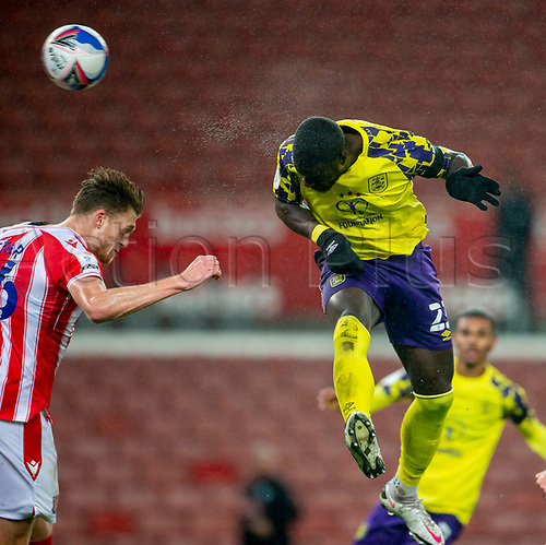 21st November 2020; Bet365 Stadium, Stoke, Staffordshire, England; English Football League Championship Football, Stoke City versus Huddersfield Town; Naby Sarr of Huddersfield Town heads home his goal making the score 4-3 in the 60th minute