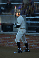 Stuart Fairchild (4) of the Wake Forest Demon Deacons waits for his turn to bat during the game against the Richmond Spiders at David F. Couch Ballpark on March 6, 2016 in Winston-Salem, North Carolina.  The Demon Deacons defeated the Spiders 17-4.  (Brian Westerholt/Four Seam Images)