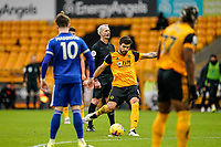 7th February 2021; Molineux Stadium, Wolverhampton, West Midlands, England; English Premier League Football, Wolverhampton Wanderers versus Leicester City; Rubén Neves of Wolverhampton Wanderers takes a free kick just outside the box but hits the defensive wall