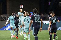 Foxborough, Massachusetts - April 20, 2019:   The New England Revolution (light blue) beat the New York Red Bulls (dark blue)  1-0 in a Major League Soccer (MLS) match at Gillette Stadium.