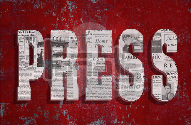 Illustrative image of 'Press' text on red background