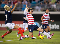 Abby Wambach (20) of the USWNT tries to get a cross on goal during the game at EverBank Field in Jacksonville, Florida.  The USWNT defeated Scotland, 4-1.
