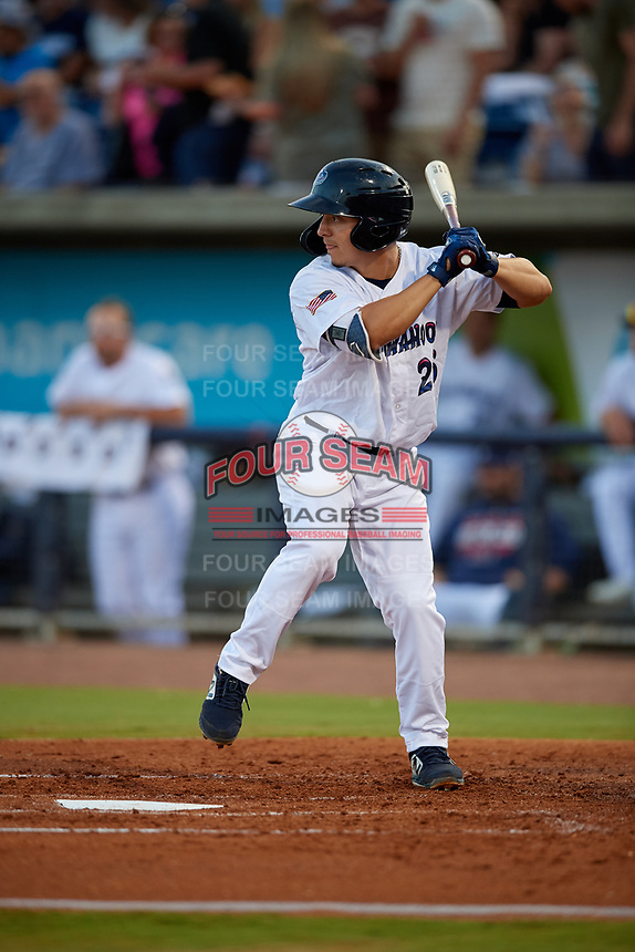 Pensacola Blue Wahoos Ernie De La Trinidad (25) at bat during a Southern League game against the Biloxi Shuckers on May 3, 2019 at Admiral Fetterman Field in Pensacola, Florida.  Pensacola defeated Biloxi 10-8.  (Mike Janes/Four Seam Images)