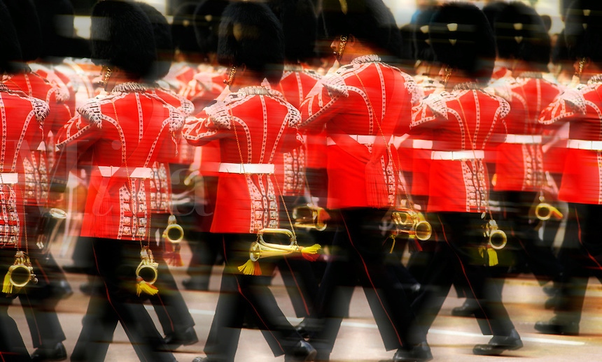 England. London. Military band in ceremonial uniform marching past at the Trooping of the Colour/Color.