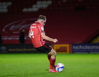 Lincoln City's Theo Archibald scores his penalty<br /> <br /> Photographer Andrew Vaughan/CameraSport<br /> <br /> EFL Papa John's Trophy - Northern Section - Group E - Lincoln City v Manchester City U21 - Tuesday 17th November 2020 - LNER Stadium - Lincoln<br />  <br /> World Copyright © 2020 CameraSport. All rights reserved. 43 Linden Ave. Countesthorpe. Leicester. England. LE8 5PG - Tel: +44 (0) 116 277 4147 - admin@camerasport.com - www.camerasport.com
