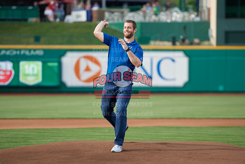 Indianapolis Colts quarterback Andrew Luck throws out the first pitch at a game between the Fort Wayne TinCaps and the West Michigan Whitecaps on May 17, 2018 at Parkview Field in Fort Wayne, Indiana.  Fort Wayne defeated West Michigan 7-3.  (Mike Janes/Four Seam Images)
