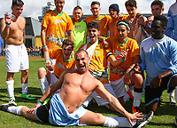 London, UK on Sunday 31st August, 2014. Louie Spence pictured with The Janoskians during the Soccer Six charity celebrity football tournament at Mile End Stadium, London.