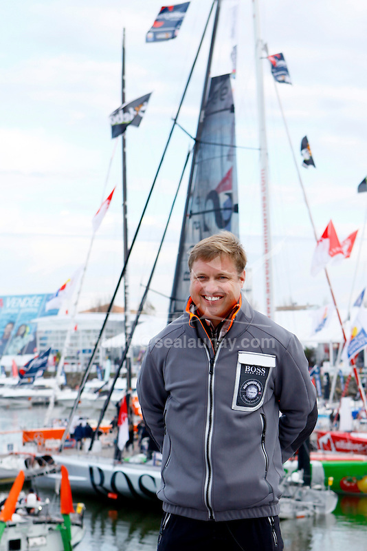 Press conference for  Alex Thomson Racing Hugo Boss before the start of the  Vendée Globe in Les Sables d'Olonne, Vendée, France..The Vendée Globe is a round-the-world single-handed yacht race, sailed non-stop and without assistance.