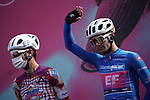 Maglia Azzurra Ruben Guerreiro (POR) EF Pro Cycling at sign on before the start of Stage 10 of the 103rd edition of the Giro d'Italia 2020 running 177km from Lanciano to Tortoreto, Italy. 13th October 2020.  <br /> Picture: LaPresse/Gian Mattia D'Alberto | Cyclefile<br /> <br /> All photos usage must carry mandatory copyright credit (© Cyclefile | LaPresse/Gian Mattia D'Alberto)