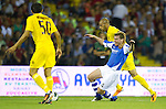 St Johnstone v Eskisehirspor....18.07.12  Uefa Cup Qualifyer.Paddy Cregg isd hauled down by Diomansy Kamara.Picture by Graeme Hart..Copyright Perthshire Picture Agency.Tel: 01738 623350  Mobile: 07990 594431