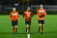 assistant referee Michel Decarpentrie , referee Thomas Beluffi , assistant referee Jonathan Binard pictured before a female soccer game between Sporting Charleroi and Standard Femina de Liege on the sixth matchday of the 2020 - 2021 season of Belgian Scooore Womens Super League , friday 6 th of November 2020  in Marcinelle , Belgium . PHOTO SPORTPIX.BE | SPP | STIJN AUDOOREN