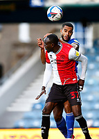31st October 2020; The Kiyan Prince Foundation Stadium, London, England; English Football League Championship Football, Queen Park Rangers versus Cardiff City; Albert Adomah of QPR claims the header