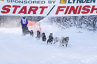 Sunday February 27, 2010  Jeff Holt leaves the start line of the Junior Iditarod at Willow Lake , Alaska