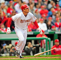 13 April 2009: Washington Nationals' third baseman Ryan Zimmerman watches the trajectory of his hit as he connects for a 2-run homer in the 9th inning against the Philadelphia Phillies during the Nats' Home Opener at Nationals Park in Washington, DC. The Nats fell short in their 9th inning rally, losing 9-8, and marking their 7th consecutive loss of the 2009 season. Mandatory Credit: Ed Wolfstein Photo