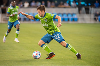 SAN JOSE, CA - MAY 12: Kelyn Rowe #22 of the Seattle Sounders dribbles the ball during a game between San Jose Earthquakes and Seattle Sounders FC at PayPal Park on May 12, 2021 in San Jose, California.