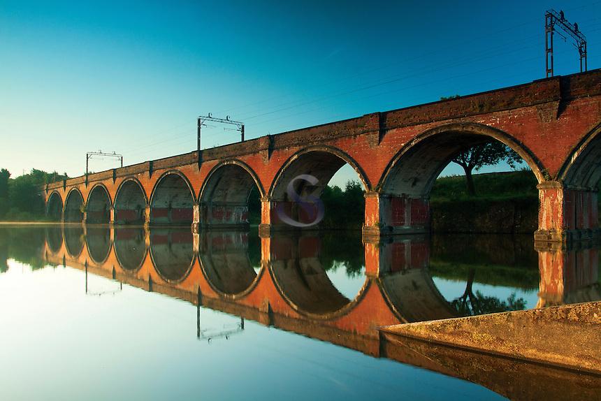 Railway viaduct reflected in Waulkmill Reservoir, Dams to Darnley Country Park, Barrhead, East Renfrewshire