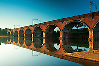 Railway viaduct reflected in Waulkmill Reservoir, Dams to Darnley Country Park, Barrhead, East Renfrewshire