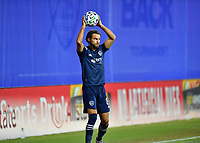 LAKE BUENA VISTA, FL - JULY 26: Graham Zusi of Sporting KC looks for options on a throw in during a game between Vancouver Whitecaps and Sporting Kansas City at ESPN Wide World of Sports on July 26, 2020 in Lake Buena Vista, Florida.