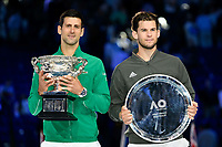 January 2, 2020: NOVAK DJOKOVIC (SRB) and DOMINIC THIEM (AUT) pose for photographs on Rod Laver Arena after  DJOKOVIC  defeated THIEM in the Men's Singles Final match on day 14 of the Australian Open 2020 in Melbourne, Australia. Photo Sydney Low