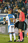 Leganes Nabil El Zhar yellow card vs Real Madrid during Copa del Rey  match. A quarter of final go. 20180118.