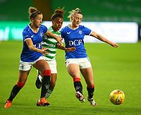 21st April 2021; Celtic Park, Glasgow, Scotland; Scottish Womens Premier League, Celtic versus Rangers; Nicola Docherty and Chelsea Cornet of Rangers Women take on Mariah Lee of Celtic Women