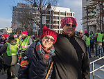 Leslie Doukas and Steve Howe, from Sparks, during the Reno Women's March on Washington event on Virginia Street in downtown Reno on Saturday, Jan. 21, 2017.