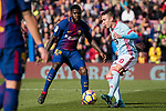 Iago Aspas Juncal of RC Celta de Vigo (R) in action Samuel Umtiti of FC Barcelona (L) during the La Liga 2017-18 match between FC Barcelona and RC Celta de Vigo at Camp Nou Stadium on 02 December 2017 in Barcelona, Spain. Photo by Vicens Gimenez / Power Sport Images